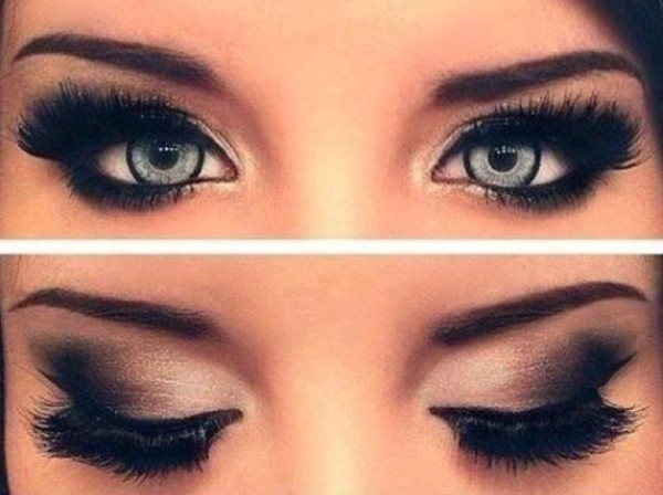 Прическа под черный макияж глаз